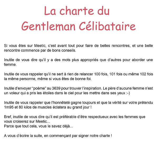 meetic badge charte du gentleman célibataire